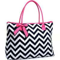 Oversized Quilted Totes with Optional Bow Decor Chevron Print Women Bags Designer Inspired High Quality Women Leather Handbags