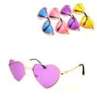 Free shipping Stunning . multicolour lenses love heart shaped metal frame sun glasses sunglasses