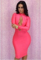FREE SHIPPING!!2014  women's  Hollow sexy  dress Long sleeves!Bandage Dress sexy   for women Nightclubs party!Wholesale!