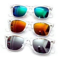 Free shipping Multicolour mercury reflective lens transparent in the box square rivet sun glasses sunglasses