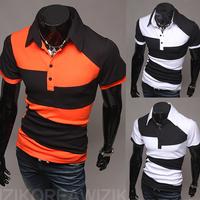 2014 Spring 3.25 Shopping Festival Personality color block decoration irregular men's fashion men t shirt short sleeve tee