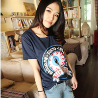 Cotton short-sleeve 100% T-shirt female summer women's plus size loose slim HARAJUKU basic shirt
