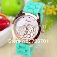 7 colors Camellia Silicone Geneva Watch for Women Dress Watch Quartz Watches 1piece/lot BW-SB-501
