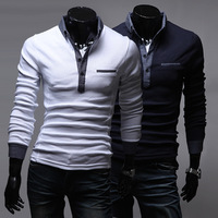 2013 summer male long-sleeve polo shirt male slim turn-down collar men's clothing polo shirts 2572