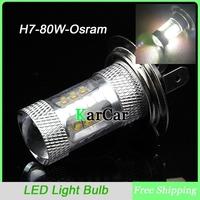 80W H7 Osram Chip with Lens High Bright LED Car Fog Light LED Headlight, Auto Daytime Running Light Bulb Free Shipping