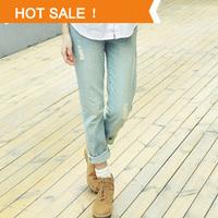 Women's Loose Jeans Pants Hole Straight Bleached Washed Casual Denim Long Trousers Vintage Cotton Light Blue Jeans Plus Size
