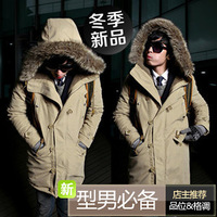 2012 male wadded jacket with a hood outerwear thick thermal cotton-padded jacket 2451