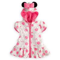 2014 spring flour polka dot Minnie girls dresses with hooded hair boa summer children pink minnie dress Vestido Infantil Rosa