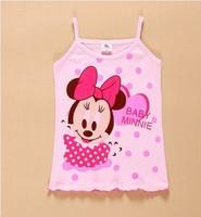 16 colors Summer 100% cotton female child MINNIE spaghetti strap vest In stock girls suspender tank hello kitty T-shirts