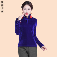 Lead clothing original design velvet chinese style stand collar basic shirt elegant long-sleeve T-shirt