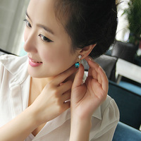 Fashion earring elegant bow zircon no pierced earrings long design drop earring