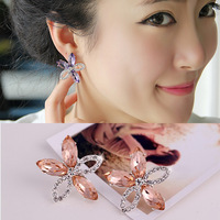 38 earring crystal flower no pierced earrings fashion stud earring female big earrings