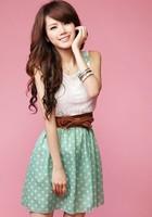 New Fashion Women's Clothing Sweet Lovely Lace Chiffon Polka Dot Casual Sundress Mini Dress Size Free
