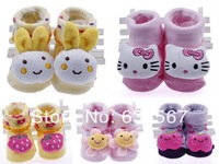 Wholesale 5pairs 5 Patterns Toddler Newborn Soft Sole Kid Baby Indoor Anti-slip Warm Sock Shoe Booties Fit 0-6 month BABY girls