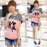 2014 spring and summer women's summer loose batwing sleeve female short-sleeve T-shirt plus size basic shirt