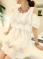 2013 summer women's small fresh strapless embroidery cutout crochet cotton cloth female