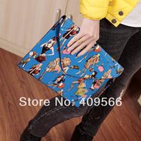 2014 women's handbag fashion vintage print envelope bag day clutch multifunctional messenger bag small summer high quality