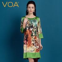 2014 new spring silk one-piece dress/ print mulberry silk loose silk dress
