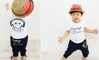 Kids set summer wear Short sleeve set Multicolor Children clothing suit Wholesale Smiling face t shirt+pants 1sets/lot freeship