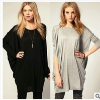 Free Shipping 2014 New Women Fashion Causal Loose Cotton Long T-shirts Female Large Long Bat Sleeve Black/Grey Dress S/M/L/XL