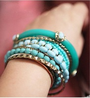 Fashion Europe multilayer hot sale Beaded Bracelet Bangle Free Shipping--Lady shop