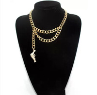 Min Order $10(Mix Order) Free Shipping, Punk Style Alloy Chains Gun Pendant Rihanna Cool Necklaces,Jewelry Wholesale