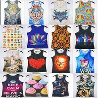 Newest 2014 men vest summer 3D animal tank tops leopard dog print Rock&Roll Punk T-shirt sport gym undershirt Tee XXL