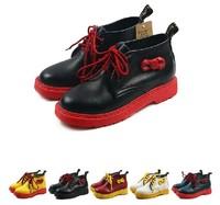 2014  Martin New Bowtie Women's Martin Shoes Woman Flats 3 Holes Lace Up  Promotion Plus Size Shoes US8 Size 40
