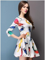 Free Shipping New Hot 2014  Woman'S Winter Casual Sexy Summer Printed Bird Sleeve Dress Sizes:S,M,L,XL LYQ33