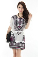 2014  fashion leisure printing Bobbi sleeve sleeved silk dress code version dress