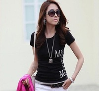 Fx02 spring and summer women's fashion short-sleeve slim t-shirt front and back print 2014