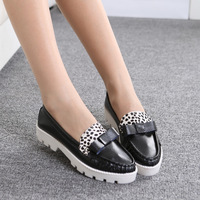 Fashion genuine leather cow muscle outsole medium hells shoes thick heel single shoes female fashion vintage women's shoes