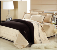 Wholesale of 100% cotton beige bedding set cotton duvet cover flat sheet pillowcase /bed linen/quilt cover suite(WDN201)