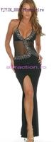 Full dress bling black placketing halter-neck dress full dress f674