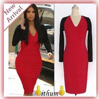 Dress sale new 2014 Noble Selebrate V-neck Full Sleeve Knee-length Patchwork Stretch Ladies Pencil Bodycon Women Dresses