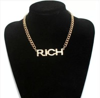 Min Order $10(Mix Order) Free Shipping, Punk Style Alloy Chains Rich letter Necklaces,Jewelry Wholesale