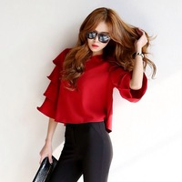 Summer 2014 New Women Flare-Sleeve Blouses & Shirts Fashion Women's Short Pullover Tops Stylish Elegand Brand Blusas femininas