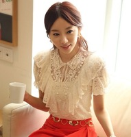 New 2014 free shipping women summer Lace Blouse hollow out embroidery short sleeve chiffon shirt Nail bead Hook flower Lady