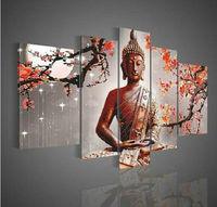 Wall Art Buddha Large Oil Painting On Canvas Modern Fashion 5pc