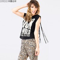 street women's rock letter print PUNK  tassel DESIGN T-shirt WOMEN'S TANKS PLUS SIZE FREE SHIPPING
