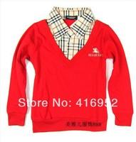 100%brand !European and American boys t-shirt sleeve plaid plaid long-sleeved shirt bottoming shirt Children