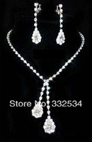 Hot Selling Bridal Jewelry Water drop Set Crystals Women Accessories Wedding Jewelry Set Necklace Earring 75a25