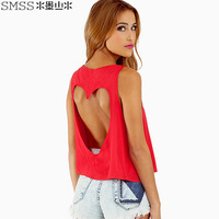 WOMEN'S summer TEE tanks fashion backless hollow out sexy racerback heart cutout tops short design vest plus size