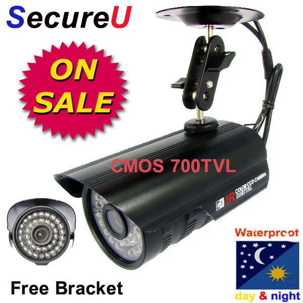 Free shipping cheap 700TVL IR CCTV security alarm system surveillance video bullet outdoor use waterproof camera installation(China (Mainland))