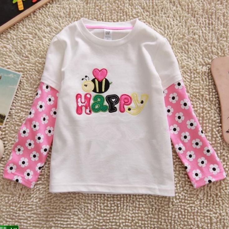 wholesale brand new Baby girls long sleeve cartoon t-shirt/Tee for spring autumn Baby Tshirt Children Tshirt kids cotton tops(China (Mainland))