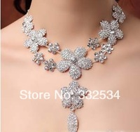 Hot Selling 2014 Bridal Necklace Flowers Rhinestone Crystal Women Accessories Bridal Jewelry Bridal Set 69a26