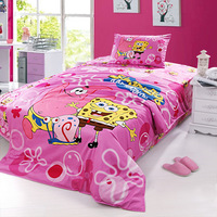 Wholesale of 100% cotton 3pcs child bedding sets spongebob duvet cover bed sheets /bedclothes/comforter cover/quilt cover(SE01)