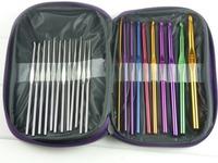 Metal needles set Hand Crochet Knitting Tools stainless aluminum handle hook needlework for sweater gloves 22pc/lot