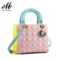 2014 summer fashion candy color block women's handbag cross-body bags