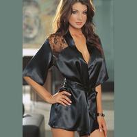 F0033 Fashion Women Sexy  Black Satin Home Furnishing Sleepwear Robe Sexy lace Nightgown bathrobe Pajamas hot sell